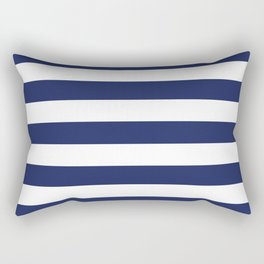 Navy Blue and White Stripes Rectangular Pillow