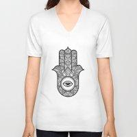 hamsa V-neck T-shirts featuring Hamsa by Carlin