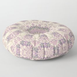 47 Wisteria Circle - Vintage Cream and Lavender Purple Mandala Floor Pillow