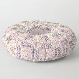 47 Wisteria Circle - Vintage Cream and Lavender Purple Mandala Floor Pillow