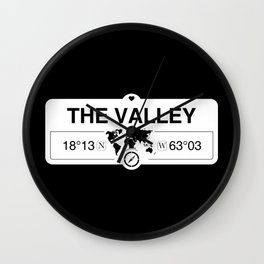The Valley Anguilla GPS Coordinates Map Artwork with Compass Wall Clock