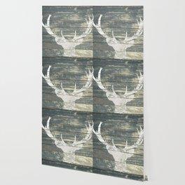 Rustic White Deer Silhouette Teal Wood A311 Wallpaper