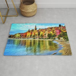 Cote d'azur, Menton France at Morning Landscape Painting by Jeanpaul Ferro Rug
