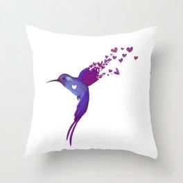 Watercolors Hummingbird Throw Pillow