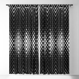 Geometric Black and White Diamond Scales Pattern Blackout Curtain