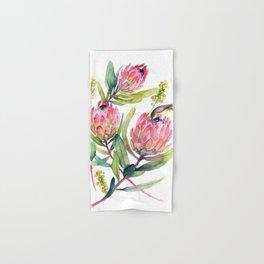 King Protea and Bird Watercolor Illustration Botanical Design Hand & Bath Towel