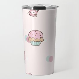 Pink Cute Llama and Cupcake Travel Mug
