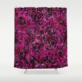 Hot Pink and Black Electric Lines Shower Curtain