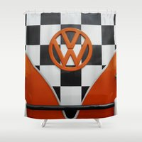 vw Shower Curtains featuring VW Checkers by Alice Gosling
