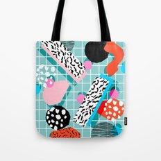 The 411 - wacka abstract memphis grid throwback retro cool neon 80s style minimal mixed media Tote Bag