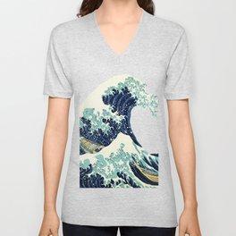 Kanagawa Japanese The great wave T shirt Unisex V-Neck