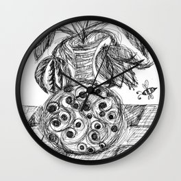 Plant in Vase Sketch Wall Clock