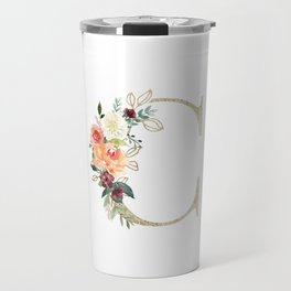 C Monogram, gold foil and watercolor flowers Travel Mug