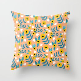 Yellow Flowers Dance Throw Pillow