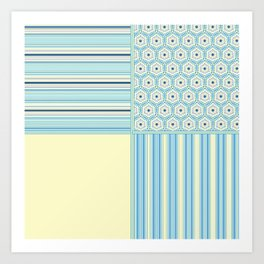 Summer Blues and Yellow Multi Pattern Design Art Print