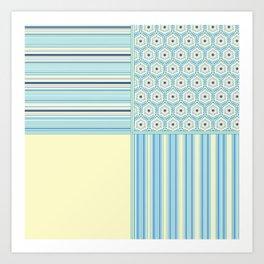 Summer Blues and Yellow Multi Pattern Design Art Print