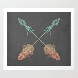 Tribal Arrows Turquoise Coral Gradient on Gray Art Print