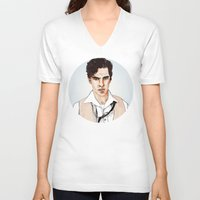 benedict V-neck T-shirts featuring Benedict Cumberbatch by Alisha Henry