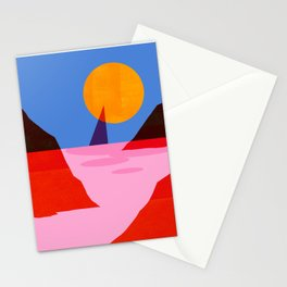 Abstraction_MOONLIGHT_Sailing_Minimalism_001 Stationery Cards