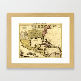 Map of Central America and Surroundings (1710) Framed Art Print