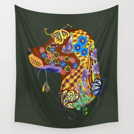 Labrador Playing with Butterflies in the Flower Garden Wall Tapestry