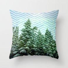 Snowy Chevron Throw Pillow