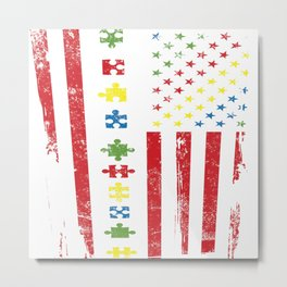 American Flag Autism Awareness Day Autistic Gift Metal Print