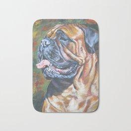 Bullmastiff dog art portrait from an original painting by L.A.Shepard Bath Mat