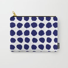 Aria - indigo brushstroke dot polka dot minimal abstract painting pattern painterly blue and white  Carry-All Pouch