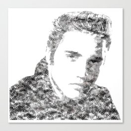 Text Elvis (Black and White) Canvas Print