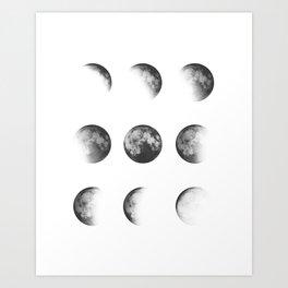 MOON PHASES • white Art Print