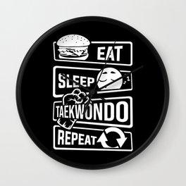 Eat Sleep Taekwondo Repeat - Martial Arts Wall Clock