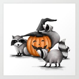 Raccoons and Jack-O-Lanterns Art Print