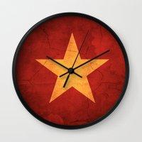 vietnam Wall Clocks featuring Vietnam Flag by anhnt32