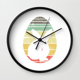 Have This Nice Vintage Retro Design With A Silhoutte Of A Cute Rabbit T-shirt Design Easter Eggs Wall Clock