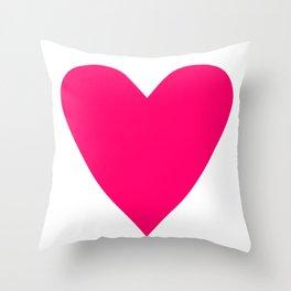 Neon Pink Heart Throw Pillow
