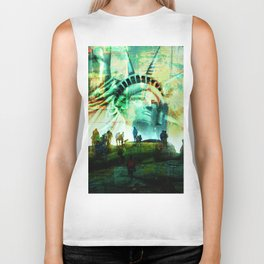 Tourist Destination - Statue of Liberty - Newspaper Style Biker Tank