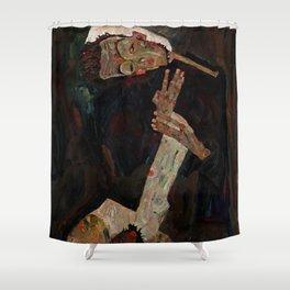 """Egon Schiele """"The Lyricist"""" Shower Curtain"""