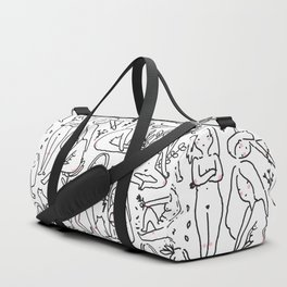 Doodle naked woman Duffle Bag
