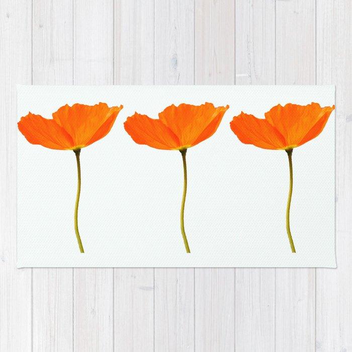 Three orange poppy flowers white background decor society6 buyart three orange poppy flowers white background decor society6 buyart rug mightylinksfo