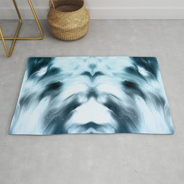 abstract psychedelic paint flow ghost face coi Rug