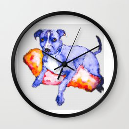 Faded Pitbull dog lounging painting Wall Clock