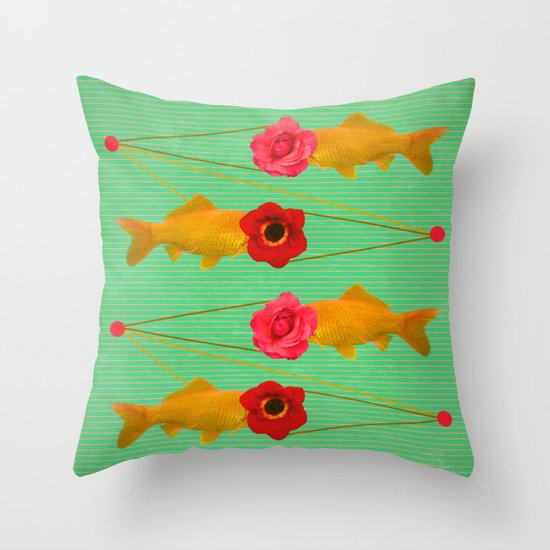 fishes and flowers Throw Pillow
