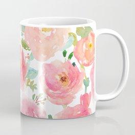 Pink Peonies Watercolor Pattern Coffee Mug