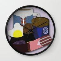 breakfast club Wall Clocks featuring Breakfast Club by Matt Humphrey