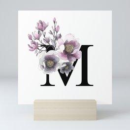 Letter 'M' Magnolia Flower Typography Mini Art Print