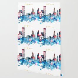 Watercolor Baltimore skyline design Wallpaper