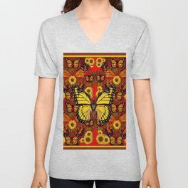 COFFEE BROWN MONARCH BUTTERFLY SUNFLOWERS Unisex V-Neck