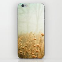 green iPhone & iPod Skins featuring Daybreak in the Meadow by Olivia Joy StClaire