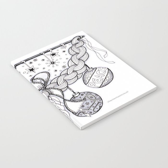 Christmas Zentangle Swag in Black and White for Adult Colorists Notebook